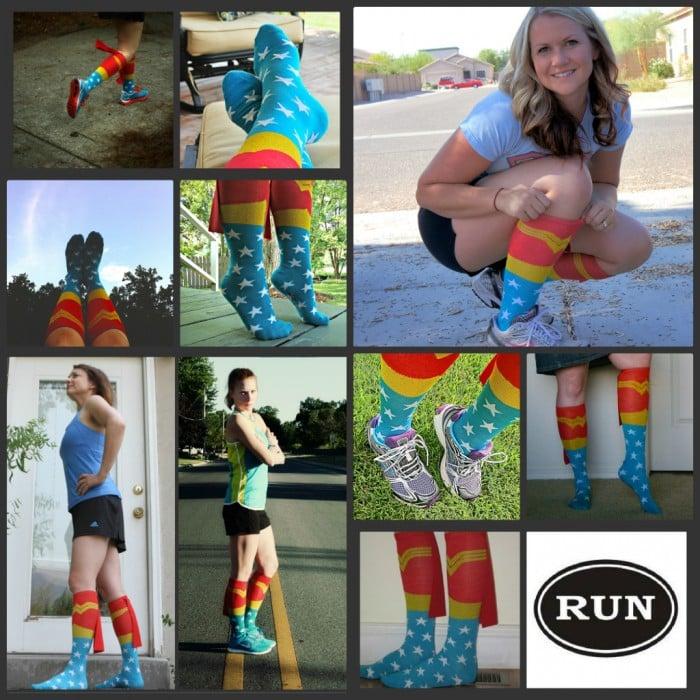 A showcase of woman wearing Wonder Woman socks