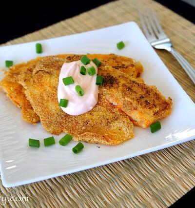 Pan Fried Cajun Tilapia displayed on a plate