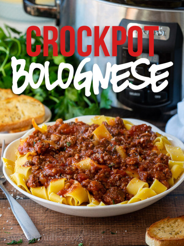 This Crock Pot Pasta Bolognese Recipe is slowly simmered for a deep and rich flavor, filled with ground beef, sausage and mushrooms.