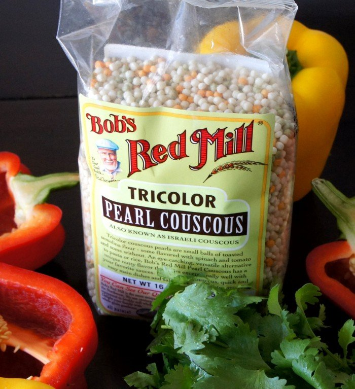 A close up of a bag of Bob\'s Red Mill Tricolor Pearl Couscous