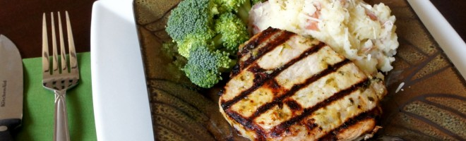 Grilled Basil and Garlic Pork Chops