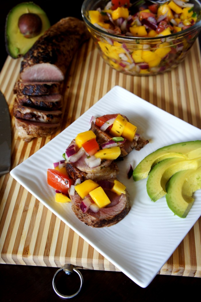 Pork roast with mango salsa recipe