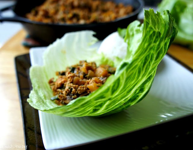 A Chinese chicken mix in a lettuce wrap