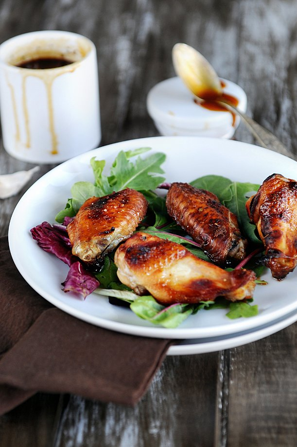 Oven Baked Chicken Wings with Sweet BBQ Sauce displayed on a plate