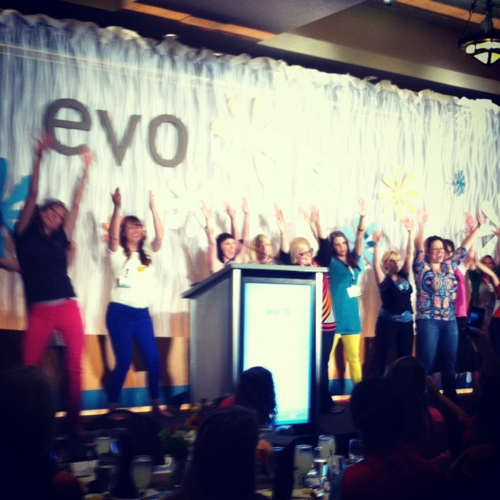 A group of woman on a stag at EVO Conference in Salt Lake City