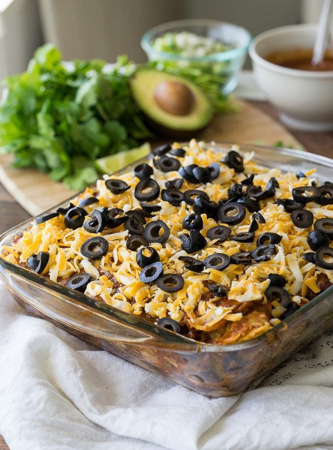 This Chicken Enchilada Casserole Recipe is so EASY!