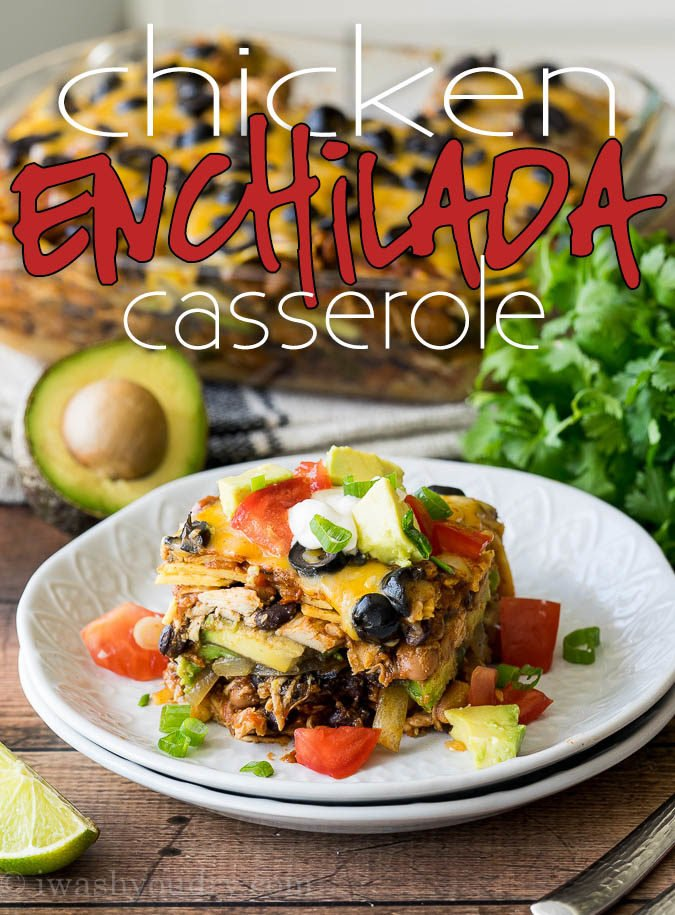 This super EASY Chicken Enchilada Casserole Recipe is a long time family favorite! It combines great flavors into a no-fuss dinner!