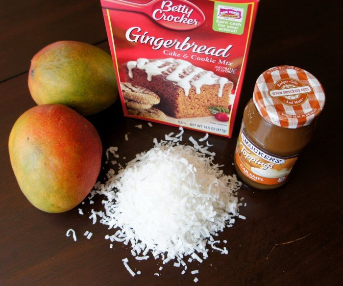 A display of needed ingredients to make Mango Upside Down Gingerbread Cake