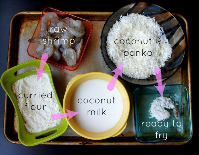A display of measured ingredients needed to make Curried Coconut Fried Shrimp
