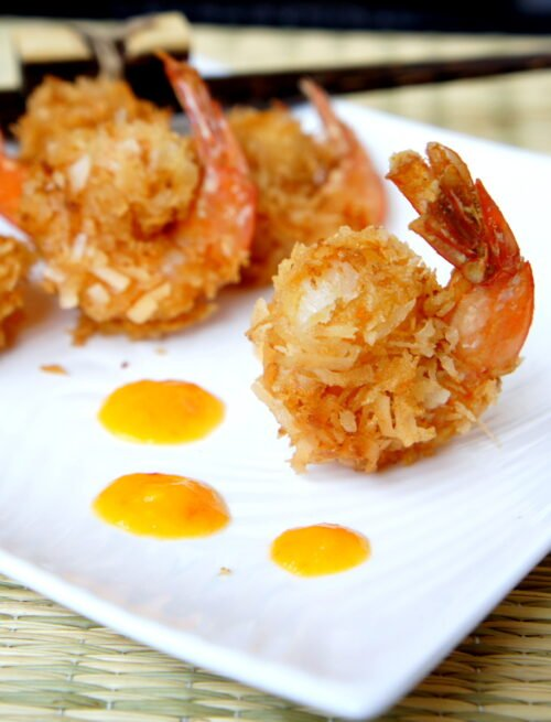 A close up of Curried Coconut Fired Shrimp on a plate