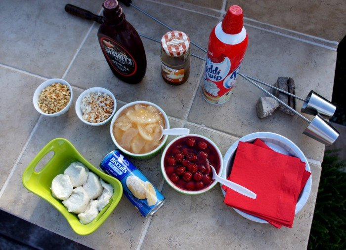 A display of needed ingredients to make the campfire tarts