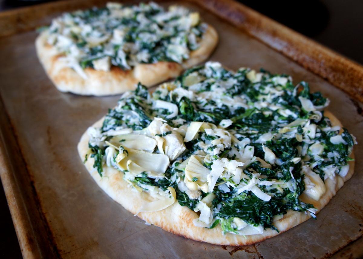 Spinach and Artichoke Flatbread Pizza - I Wash You Dry