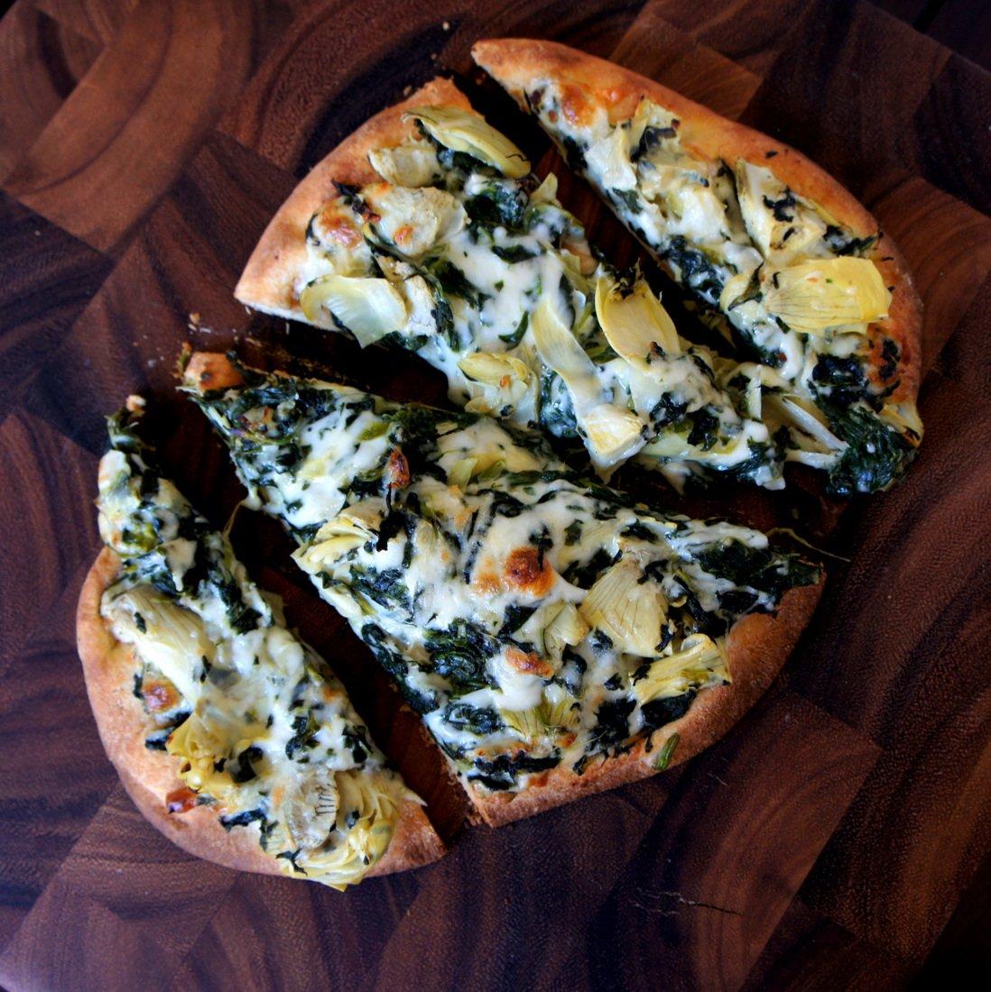 Spinach Artichoke Pizza: Spinach And Artichoke Flat Bread Pizza