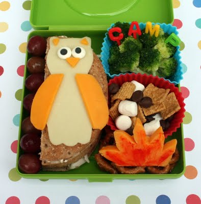 Bento lunch idea with an owl shaped out of cheese, grapes, broccoli, trail mix and a sandwhich