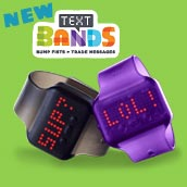 A display of Text Bands, one black and one purple
