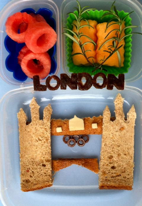 Bento lunch ideas designed to look like London, includes bread, cheese, melon, watermelon
