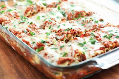 A close up of lasagna in a pan