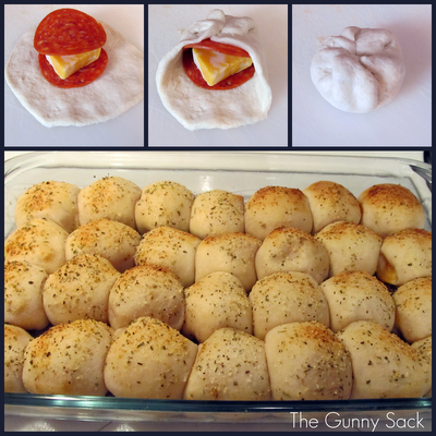 Demonstration of how to make Mini Pepperoni Pizza Rolls  and the baked rolls in a pan