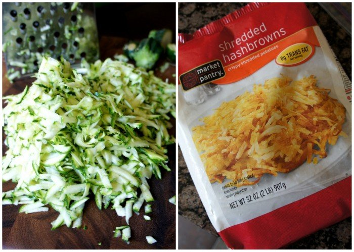 Two pics - Left: a pile of shredded zucchini and right: a bag of shredded potatoes
