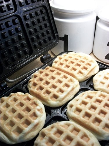 Waffles made from refrigerator biscuits on a waffle griddle