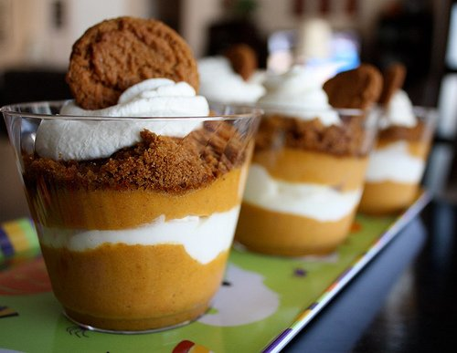 A close up of cups of Pumpkin Ginger Parfaits