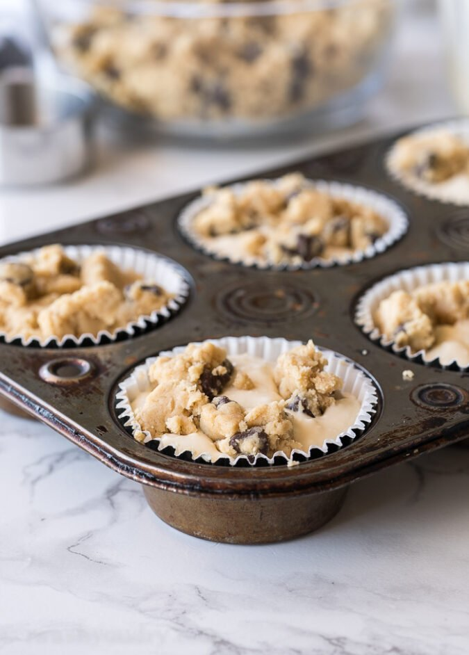 Top each cheesecake filled cup with a few pieces of cookie dough!