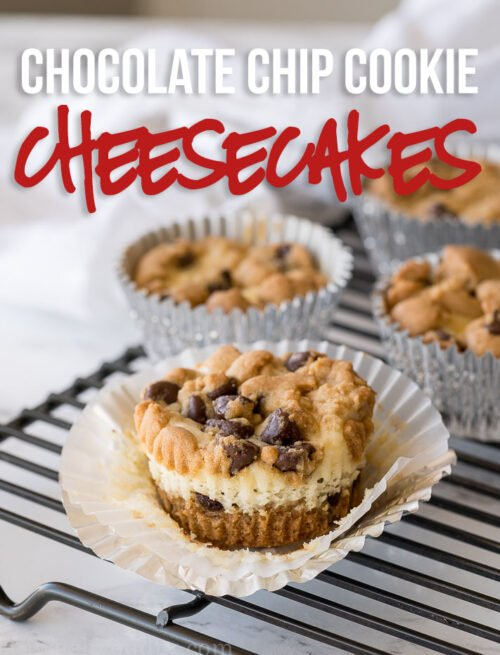Chocolate Chip Cookie Cheesecake Cups are filled with a creamy cheesecake center and surrounded by buttery chocolate chip cookie dough! These are perfect little bites of deliciousness!