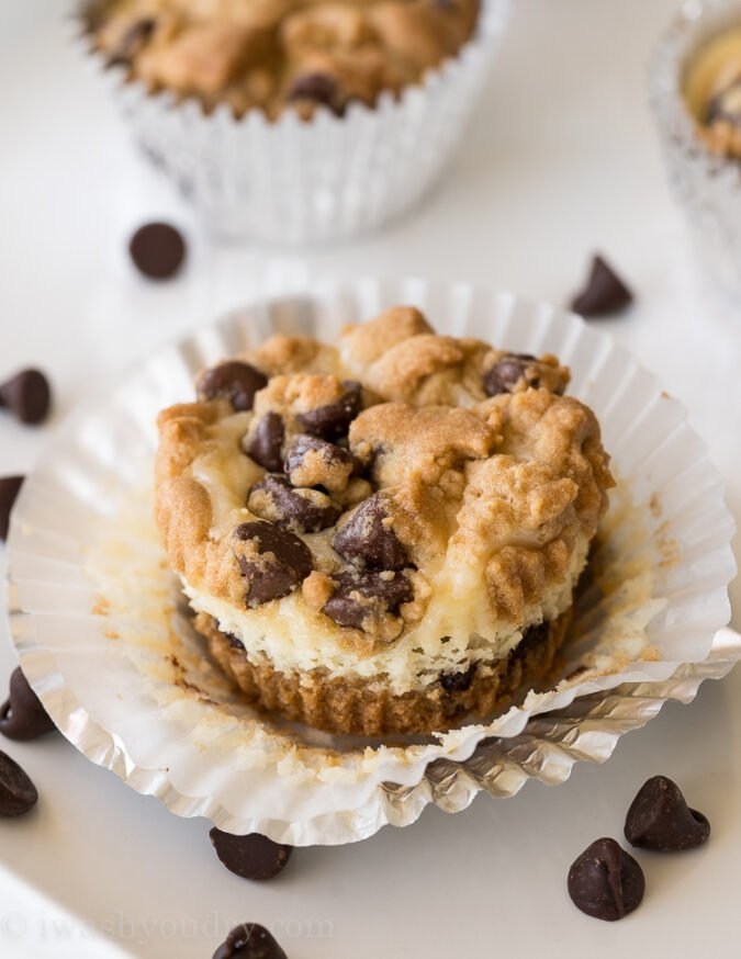 My family is OBSESSED with these Chocolate Chip Cookie Cheesecake Cups! They're so easy and perfect for any party or gathering!