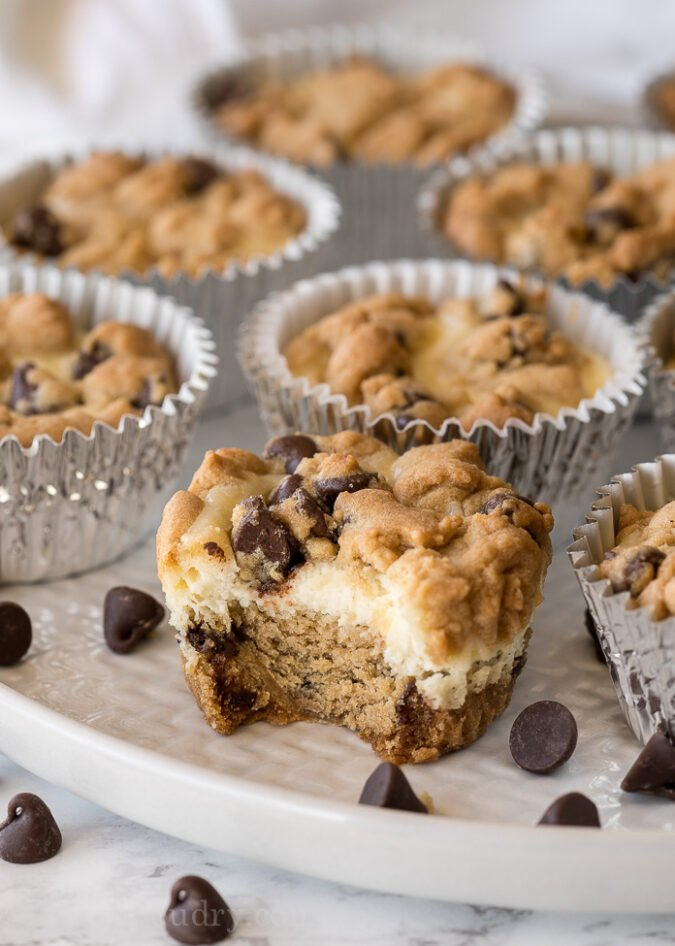 These Chocolate Chip Cookie Dough Cheesecake Cups are the perfect easy dessert for pot lucks and parties!