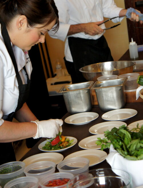 A group of chefs preparing food at Camp Blogaway 2012