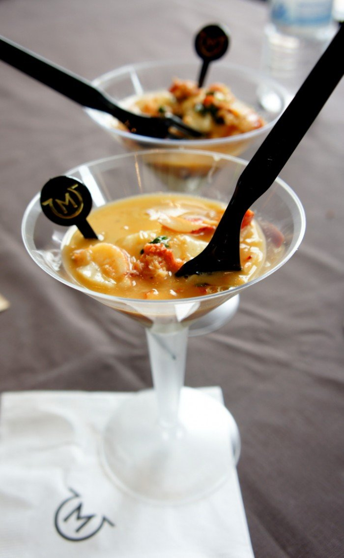A close up of food in a wine glass from the Phoenix Cooks event