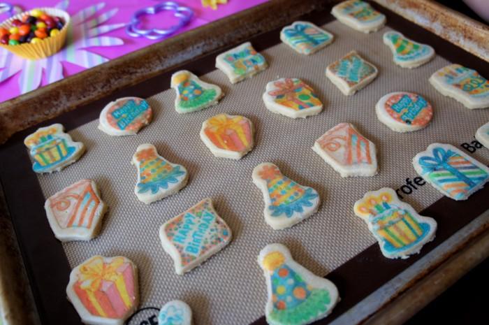 Sugar cookies on a pan