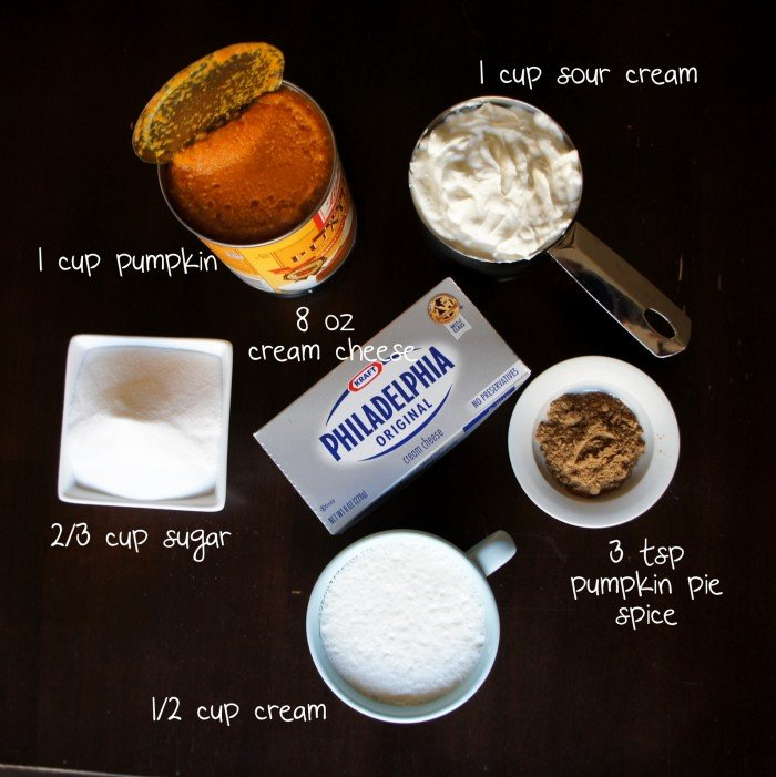A display of measured ingredients needed to make Pumpkin Cheesecake Ice Cream