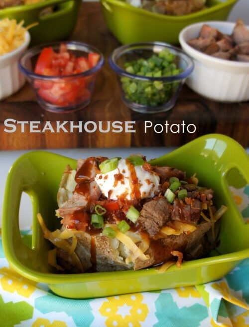 A display of a baked potato topped with a variety of toppings