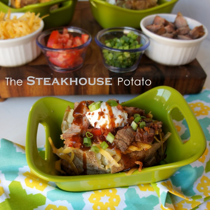 A baked potato on a green plate with a Steakhouse themed potato bar toppings