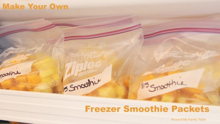 Freezer bags in a bin full of Smoothie Packets