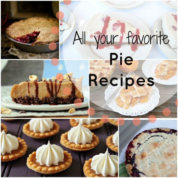 """A grid of pictures with a variety of pie and a title, \""""All your favorite Pie Recipes\"""""""