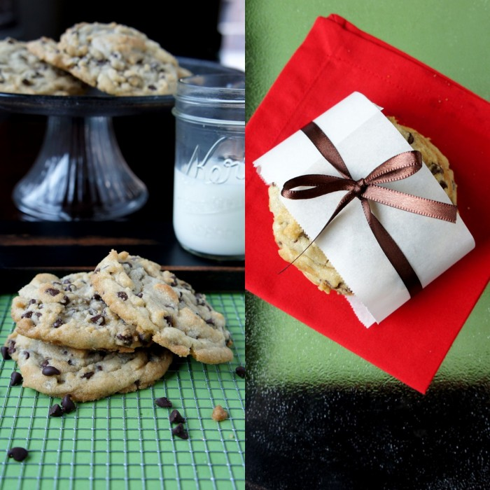 Two pictures- left: a display of chocolate chip cookies staked together next to milk, right: cookies gift wrapped