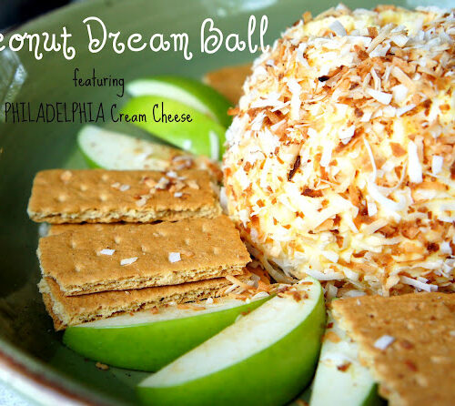 A close up of a Coconut Dream Ball surrounded by graham crackers and green apple slices