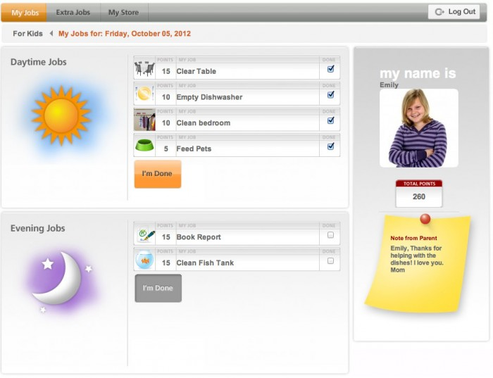 A screenshot of My Job Chart\'s dashboard for a child