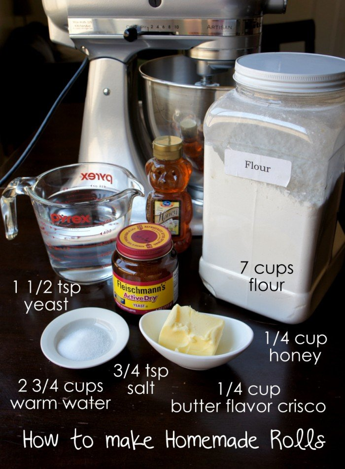 A display of measured ingredients needed for homemade rolls