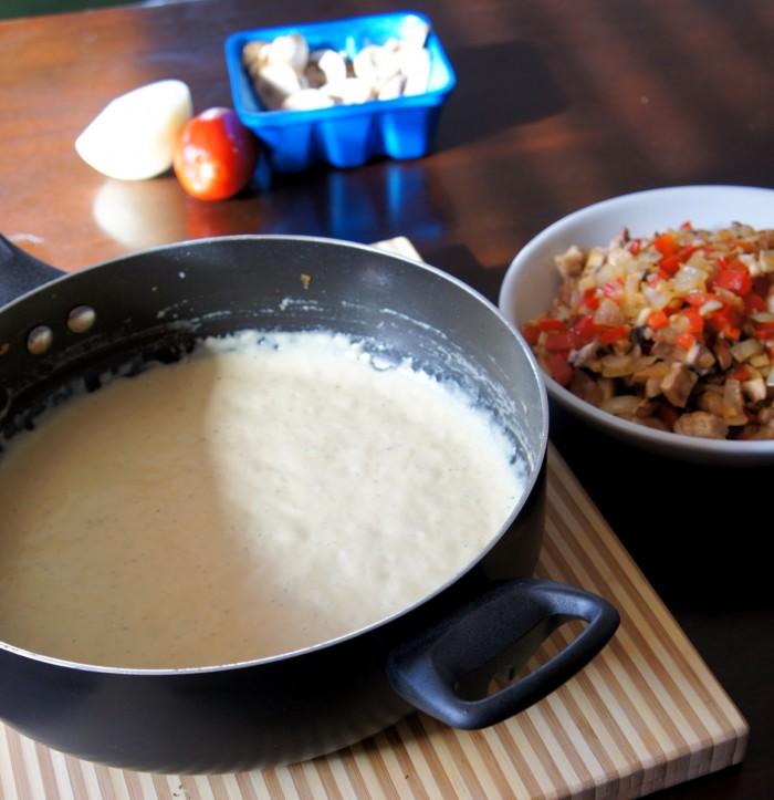 A pan with creamy sauce