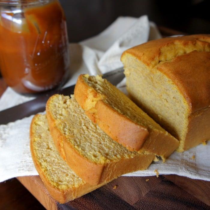 A sliced loaf of pumpkin pound cake