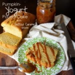 Pumpkin Yogurt Pound Cake with a Salted Caramel Drizzle