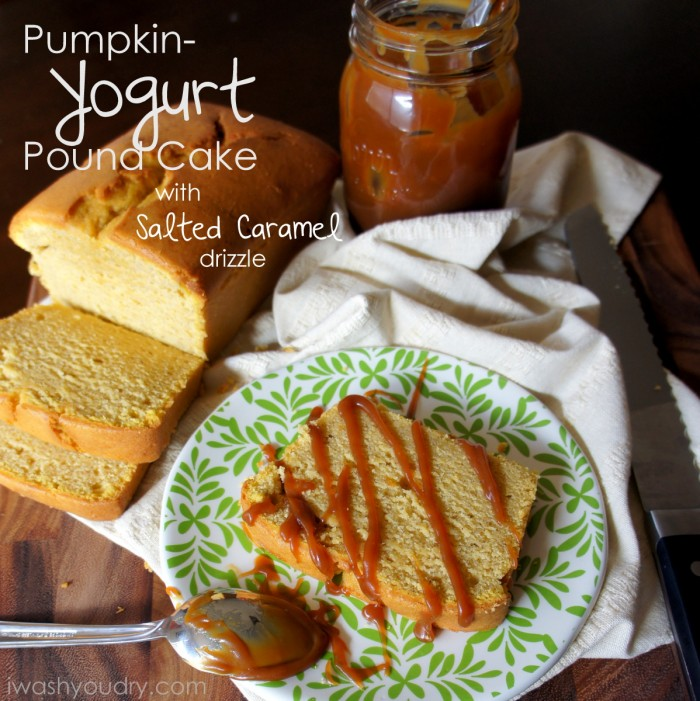 A loaf of sliced Pumpkin Yogurt Pound Cake, with one slice on a plate topped with drizzled salted caramel