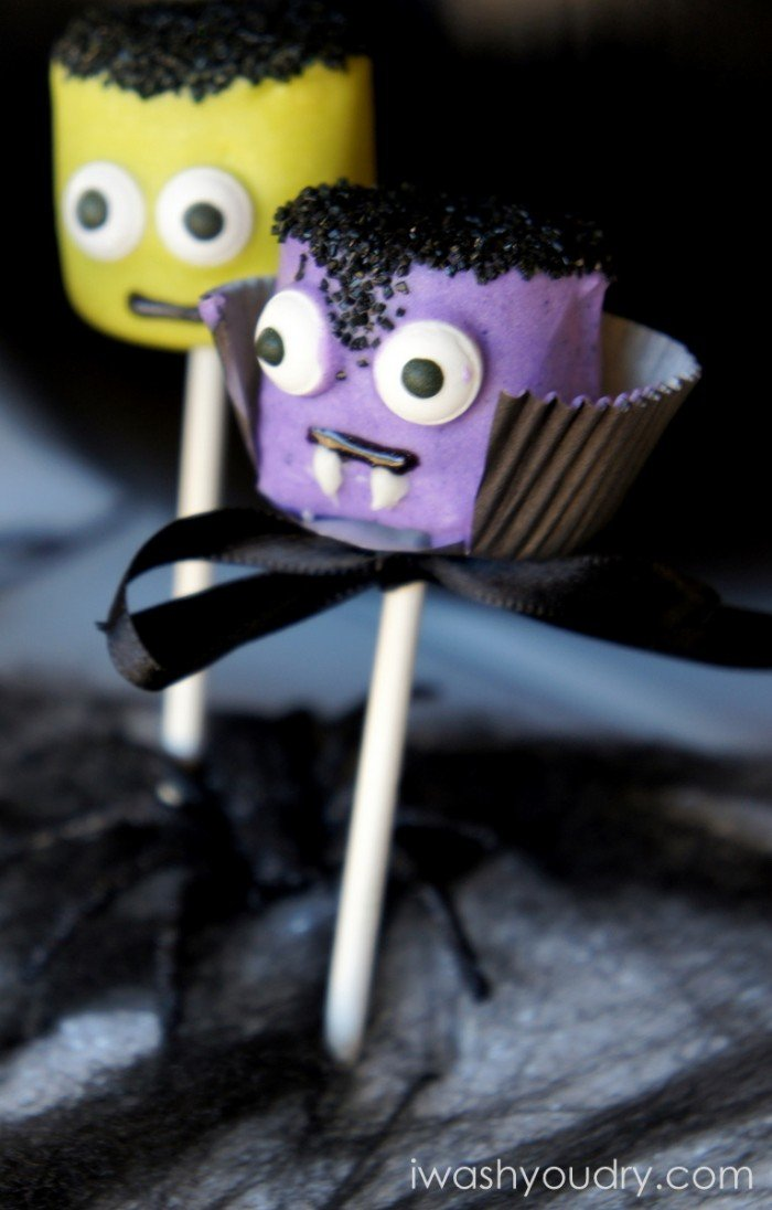A close up of a Vampire themed marshmallow pop