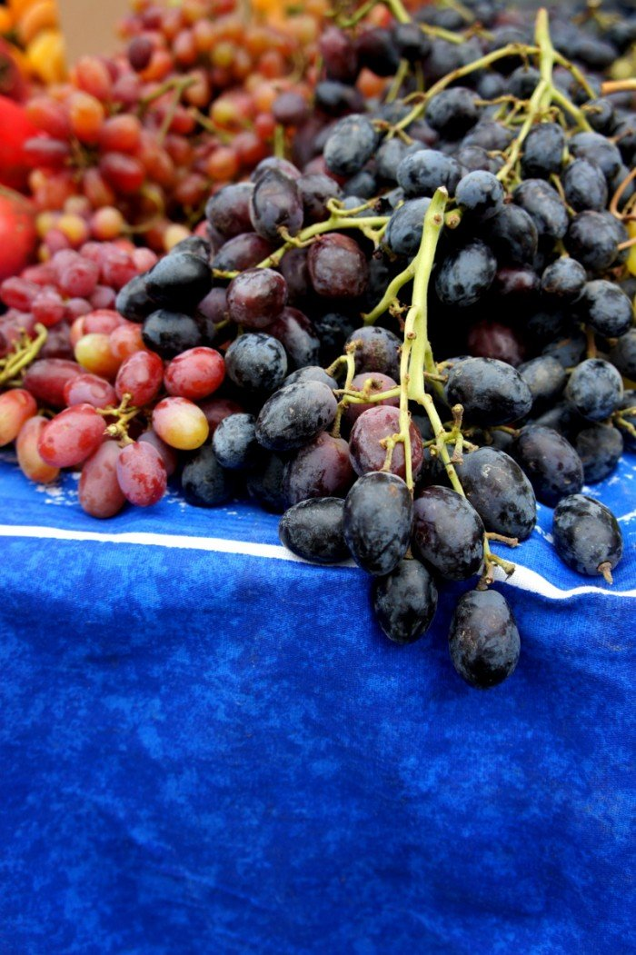 A close up of bunches of grapes at a Farmers Market in San Fransisco