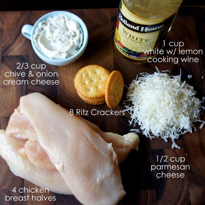 Measured ingredients on a table needed to make Parmesan Crusted Chicken