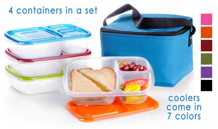 A blue lunch box cooler with a stack of plastic containers next to it and one container in front displaying the inside with food