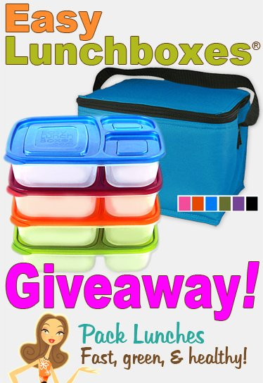 """A stack of plastic bento containers and a cooler titled \""""Easy Lunchboxes Giveaway! Pack Lunches Fast, Green and Healthy!\"""""""